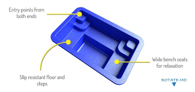 Poolscene Gympie Fibreglass Pools Spas and Waders 3D Representation